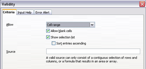 Validating cell contents - Apache OpenOffice Wiki