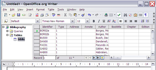 Figure 6: The Data Source Explorer in Writer