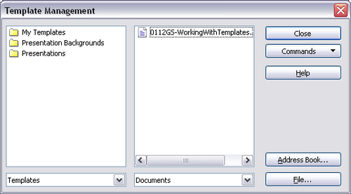 template management dialog