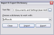 Figure 2: Choosing an OOo dictionary for words imported from Microsoft Word