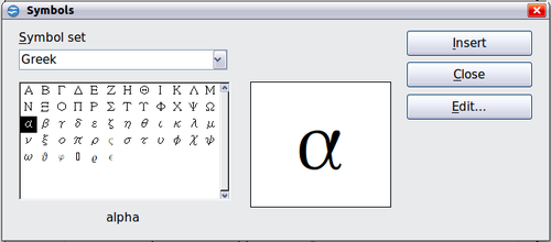 how to make alpha symbol in excel