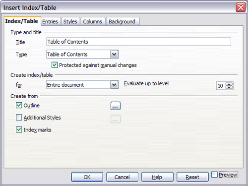 indextable page of insert indextable dialog box